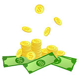 Golden coins and dollars symbol