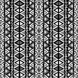 Black and white ethnic motifs background in doodle style
