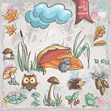 Autumn collection with images of birds, animals, fungi, flowers, cones for children. Set 2.