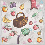 Set of vegetables and fruits with a wicker basket