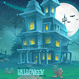 Illustration for Halloween haunted house for a party