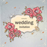 Wedding invitation card for your text on a gray background with poppies, Wedding Rings and Doves