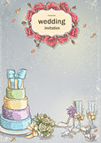 Wedding invitation with a picture of wedding items, cake, wine glasses, a bouquet of roses, doves.