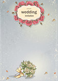 Wedding invitation for your text with the image of a wedding bouquet