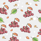 Image of seamless pattern with berries and autumn leaves of Viburnum