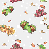 Seamless autumnal pattern with the image of chestnuts and acorns rowan berries