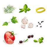 Set of vegetables on a white background dill, parsley, tomato, mushrooms, olives, basil, black pepper.