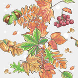 Seamless autumnal pattern with leaves, chestnuts, acorns and berries of Viburnum