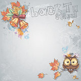 Background image for text with a school bell, autumn leaves and intelligent owl