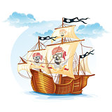 Image caravel ship pirates. XV century
