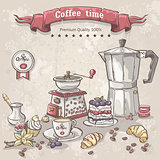 Vector set of coffee with the Turks, cup, coffee pot and a variety of sweets