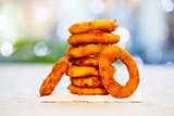 Onion rings deep-fried.