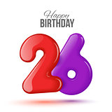 birthday. Greeting card with numbers.