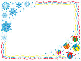 Greeting card with snowflakes and gifts