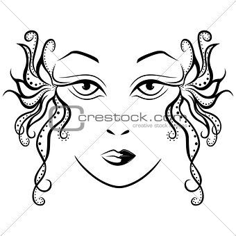 Abstract female face with ornamental locks