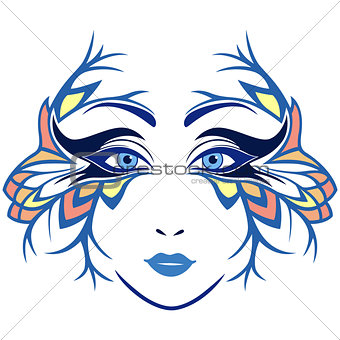 Abstract women face with stylized mask