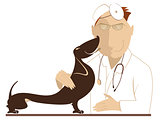 Veterinarian is examining a dog