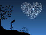 Romantic background telescope and heart