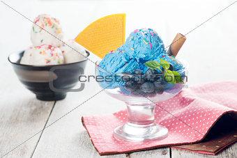 Blue ice cream and vanilla icecream