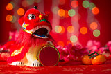 Chinese New Year objects miniature dancing lion