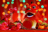 Chinese New Year design in red background