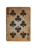 Very old playing card, eight of clubs