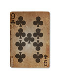 Very old playing card, nine of clubs