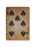 Very old playing card, seven of spades