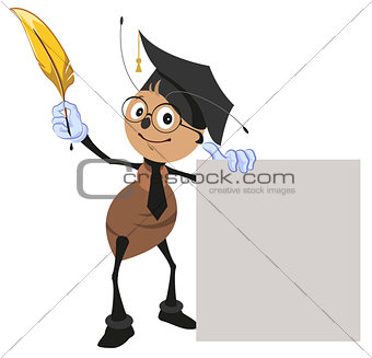 Ant teacher holding pen and blank sheet