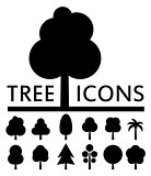 black tree icons collection