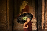 Buddhist novice monk inside monastery
