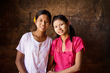 Two young Myanmar female smiling