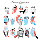 Collection of graphic owls