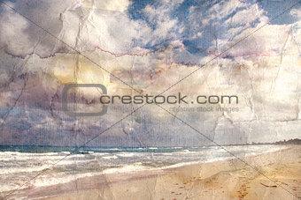 watercolor landscape retro ocean