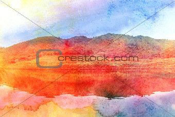 watercolor retro island off the lakes