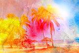 watercolor retro palms