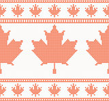 Seamless knitted texture with maple leaf
