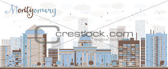 Abstract Montgomery Skyline with Color Building