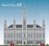 Vienna City Hall in gray color with blue sky
