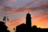 Silhouette of a church in Pisa
