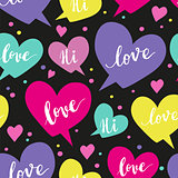 Romantic concept seamless pattern with colorful speech bubbles