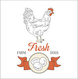 Farm Fresh Eggs. Vector Illustration