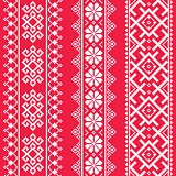 Ukrainian, Belarusian white embroidery seamless pattern on red - Vyshyvanka