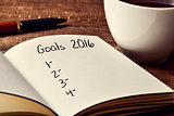 coffee and notepad with a blank list of goals for 2016