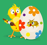 Yellow chicken colors easter egg