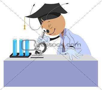 Ant teacher looks through microscope