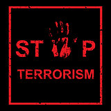 Vector handprint with inscription Stop terrorism