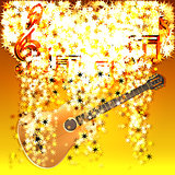 musical notes in a cloud of stars and guitar