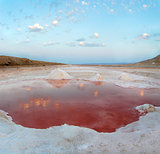 Salt lake at dawn