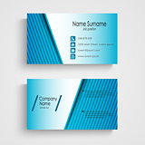 Business card with blue stripes template